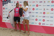 Paige Hareb (L) is still in the running at the Roxy Pro in Bairritz. Photo / Michelle Tims