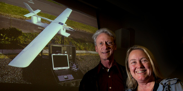 Professor John Brooks and Dr Barbara Bollard-Breen will use the UAV to help chart New Zealand's flora and fauna from the air. Photo / Brett Phibbs