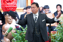 Waitangi Tribunal member Pou Temara speaks during the powhiri before the hearing begins. Photo / Mark Mitchell