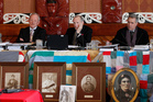 Waitangi Tribunal members, from left, Timothy Castle, Ron Crosby and Chief Judge Wilson Isaac during their urgent hearing at the Waiwhetu Marae in Lower Hutt. Photo / Mark Mitchell