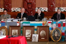 Waitangi Tribunal members, from left Pou Temara, Timothy Castle, Ron Crosby, and Chief Judge Wilson Isaac. Photo / Mark Mitchell