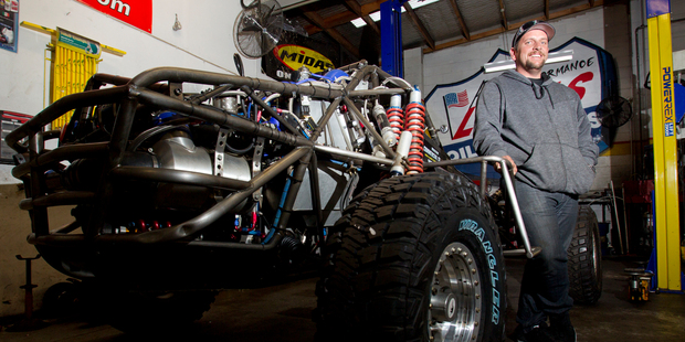 Lotto winner Trevor Cooper indulges his passion for motorsport with his off-road buggy.  Photo / Kellie Blizard