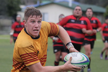 Nathan Harris yesterday in his first club rugby game since returning from South Africa. Photo / Herald on Sunday