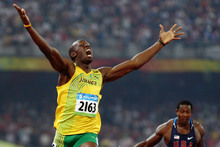 Usain Bolt celebrates in Beijing after breaking the 200m world record. Photo / Getty Images