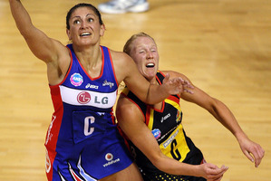 Temepara George (left) and Laura Langman have been fierce but friendly rivals on the court. Photo / Getty Images
