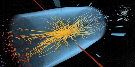 This CERN image gives a visual record of the collision between high-energy photons (red lines), resulting in a spray of short-lived particles (yellow). Photo / AP