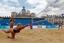 Beach volleyball at this year's Olympics is to be staged at Horseguards Parade, backing on to Downing St. Photo / AP