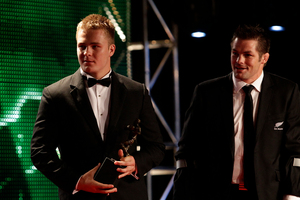 Sam Cane (left) and Richie McCaw. Photo / Sarah Ivey