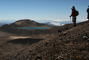 Trampers look towards Blue Lake, in Tongariro National Park in the Central Plateau. Photo /  Greg Bowker