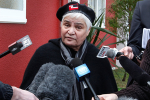 Maori Party co-leader Tariana Turia speaking to media while attending the Waitangi Tribunal urgent hearing into state asset sales at the Waiwhetu Marae in Lower Hutt. Photo / Mark Mitchell