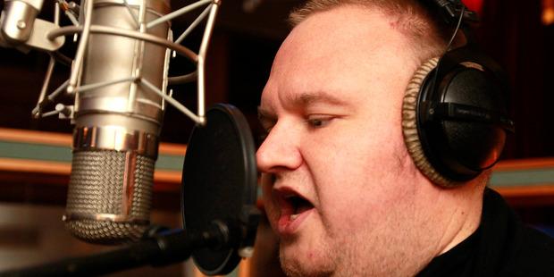 Kim Dotcom, seen here working on his new rap album. Photo / Steven McNicholl