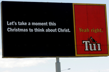 Tui took a moment to offend Christians with one of their provocative billboards. Photo / Bay of Plenty Times