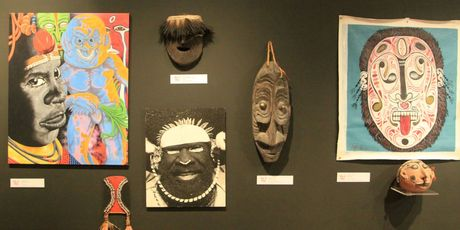 Modern PNG art and traditional artefacts hang together at the Whangarei Art Museum. Photo / Jim Eagles