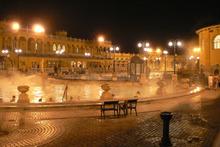 Bathers take an evening soak at Budapest's Szechenyi baths. Photo / Creative Commons image by Wikimedia user Neef-2