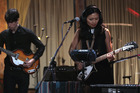 Bic Runga performing with OPOSSOM at their Sundae Sessions performance at York Street Studios. Photo / Matt Gerrrand