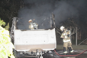 Fire crew members at the scene of the fire. Photo / Fraser Coast Chronicle