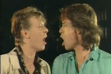 David Bowie and Mick Jagger in their 1985 song Dancing in the Street. Photo / YouTube