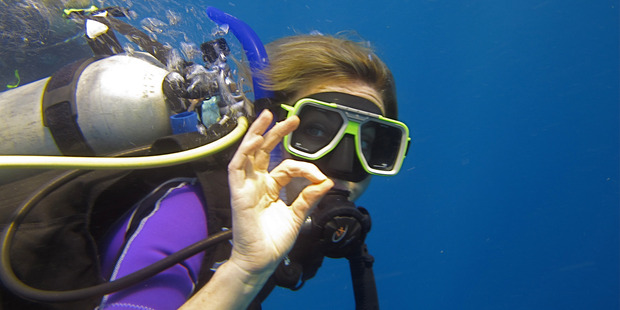Sheriden Rhodes on a diving trip at Jean-Michel Cousteau Fiji Islands Resort. Photo / Sheriden Rhodes