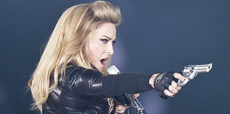 Madonna stepped in to help a fan propose at a concert in Amsterdam. Photo / AP