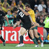 Williams was sent off with a yellow card for this hit on Quade Cooper during the Rugby World Cup semifinal clash against Australia. Photo / Greg Bowker