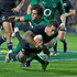 Williams breaks past Ireland's Conor Murray to score during the All Blacks' third test against Ireland. Photo / Greg Bowker