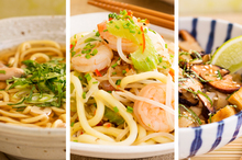 Be bowled over by: Chicken soba noodles with ginger, garlic broth; stir-fried hokkien noodles with chilli prawns; rice noodles with shitake, fried tofu, sesame and soy. Photo / Babiche Martens