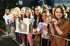 Justin Bieber fans outside the Langham Hotel in Auckland. Photo / Greg Bowker