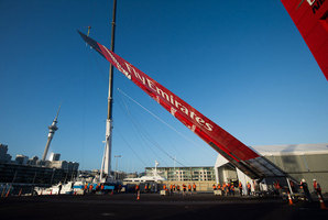 Team New Zealand wheeled their AC72 catamaran out of the shed the first time this morning and attached their wingsail which is bigger than the wing of a Boeing 747. Photo / Chris Cameron / ETNZ.