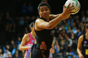 Julianna Naoupou of the Magic regains posession during the Minor Semi Final ANZ Championship match between the Magic and the Thunderbirds. Photo / Getty Images.