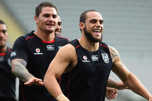 Steve Rapira warms up during a New Zealand Warriors NRL training session at Eden Park. Photo / File