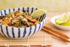 Rice noodles, shitake, fried tofu, sesame and soy. Photo / Babiche Martens