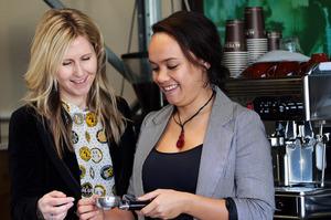 Rachel Grunwell gets the coffee lowdown from Antoinette Mudford. Photo / Doug Sherring