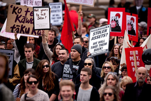 Thousands of protesters marched in Queen St on Saturday against the Government's push to sell state-owned assets. Photo / Dean Purcell