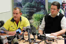 General Manager of Newmont Waihi Gold Glen Grindly (left) and External Affairs Manager Sefton Darby speak at a Press Conference about a fire at the Waihi Mines. Photo / Christine Cornege