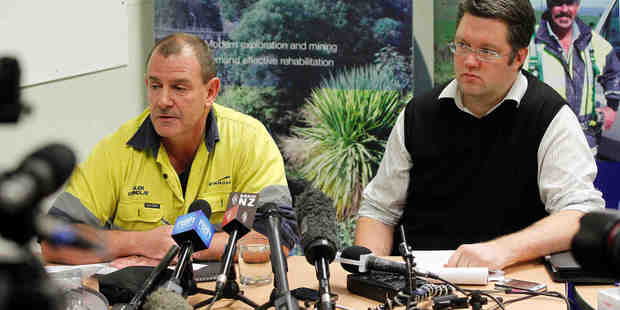 Loading General Manager of Newmont Waihi Gold Glen Grindly (left) and External Affairs Manager Sefton Darby speak at a Press Conference about a fire at the Waihi Mines. Photo / Christine Cornege