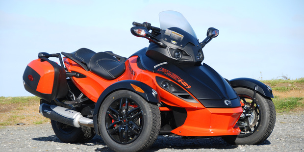 The Can-Am Spyder has the power of a car and the wind-in-the-face excitement of a motorcycle. Photo / Jacqui Madelin