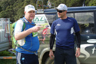 Wayne Bowler compares notes with Aaron Carter, of Total Sport, at the Hunua 2011 event.