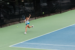 Caroline Lewis, 15, attends the Ivan Lendl tennis academy in the US and trains up to five hours a day. Photo / Supplied