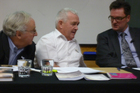 Gil Elliott, Garth McVicar and Greg King at the Hot Tub debate, held at Victoria University. Photo / Kate Shuttleworth