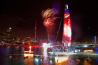 Fireworks during the launch of Team NZ's new boat at the Viaduct Harbour last night.  Photo / Neville Marriner