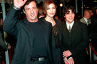 Sylvester Stallone, left, with wife Jennifer Flavin, center, and his son Sage. Photo / AP