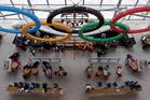 People meet at Heathrow Airport. Photo / AP