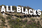 The All Blacks sign was displayed on the Miramar hillside throughout the Rugby World Cup. Photo / Mark Mitchell