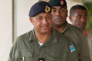 Fiji's self appointed prime minister Commodore Frank Bainimarama has been the target of an alleged assassination plot. Photo / File