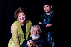 Actors Geraldine Brody, George Henare and Te Kohe Tuhaka perform in the play Awatea. Photo / Natalie Slade