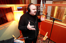 Kim Dotcom records at Roundhead Studios. Photo /  Steven McNicholl.