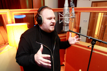 Kim Dotcom works on his rap album at Roundhead Studios in Auckland. Photo / Steven McNicholl