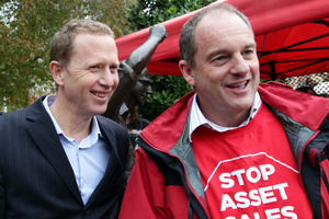 Green's Russel Norman (left) and Labour's David Shearer. Photo / Doug Sherring