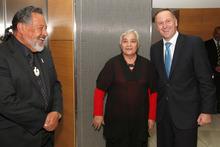 Prime Minister John Key greeting Maori Party co-leaders Pita Sharples and Tariana Turia. Photo / Mark Mitchell.
