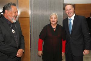 Prime Minister John Key greeting Maori Party co-leaders Pita Sharples and Tariana Turia before their coalition talks at the Beehive, Wellington. Photo / Mark Mitchell